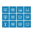 TV icons on blue background vector image vector image