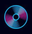 vinyl music record in retro neon colors vintage vector image