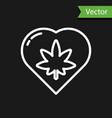 white line marijuana leaf in heart shape icon vector image vector image