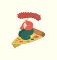 woman eating pizza on pizza slice comic cartoon vector image
