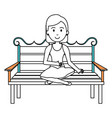 woman sitting on park chair vector image