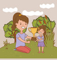 woman with child and trophy vector image