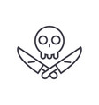 scull with knifes line icon sign vector image