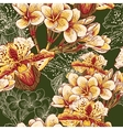 Seamless floral pattern with exotic flowers vector image