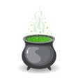 witch s cauldron with green potion for halloween vector image