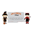 Halloween party invitation with cute kids vector image