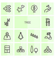 14 tree icons vector image vector image