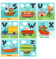 alphabet card with transport and animals s to z vector image vector image