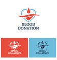 blood donation logo design template vector image vector image