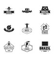 brazil logo set simple style vector image