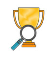 business trophy and magnifying glass vector image