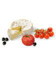 camembert cherry tomatoes and olives vector image