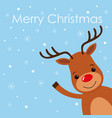 christmas card with a cute reindeer character vector image