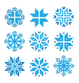 Christmas winter blue snowflakes icons set vector image vector image