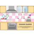 cooking classes poster kitchen dishes kitchen vector image
