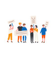crowd lgbt rights activists holding banners and vector image vector image