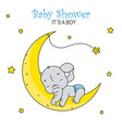 cute elephant sleeping on the moon vector image vector image