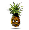 cute fresh pineapple cartoon character emotion in vector image vector image