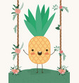 cute pineapple in landscape kawaii character vector image