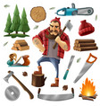 deforestation lumberjack icon set vector image vector image