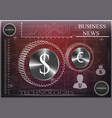 dollar and euro icon on a red-black background vector image vector image