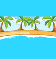 empty beach landscape scene with many palm trees vector image vector image