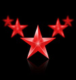 Five red stars in the shape of wedge on black vector image vector image