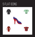 flat icon clothes set of t-shirt heeled shoe vector image vector image