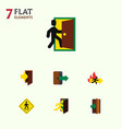 flat icon door set of entrance direction pointer vector image vector image