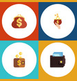 flat icon purse set of currency payment billfold vector image vector image