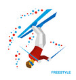 freestyle skiing half-pipe superpipe vector image vector image