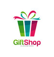 gift shop logo design concept template colorful vector image