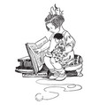 girl reading book holding doll toys vintage vector image vector image