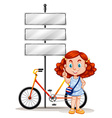 Girl standing next to bike and signs vector image