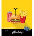 halloween menu sodafrench fries hamburger vector image