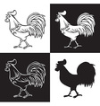 hand drawing rooster crowed vector image
