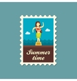 Hula Dancer Statuette stamp Summer Vacation vector image vector image