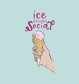 ice-cream social hand draw sketch ice-cream vector image