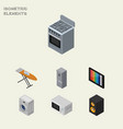 isometric electronics set of laundry cloth iron vector image vector image