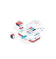 isometric mobile development line vector image vector image