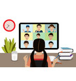 kids study at home via remote video app vector image