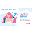 landing page offering aesthetic medicine service
