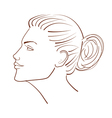 line a beautiful woman face from profile view vector image