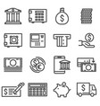 line bank icons set vector image