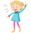 Little girl in blue shirt vector image vector image