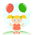 Little girl with toy balloons vector image