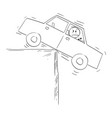 man in car balancing on edge concept risk vector image vector image