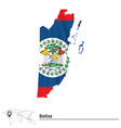 Map of Belize with flag vector image