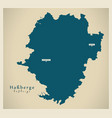 modern map - hassberge county bavaria de vector image vector image