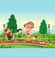 mother and children at the park vector image vector image